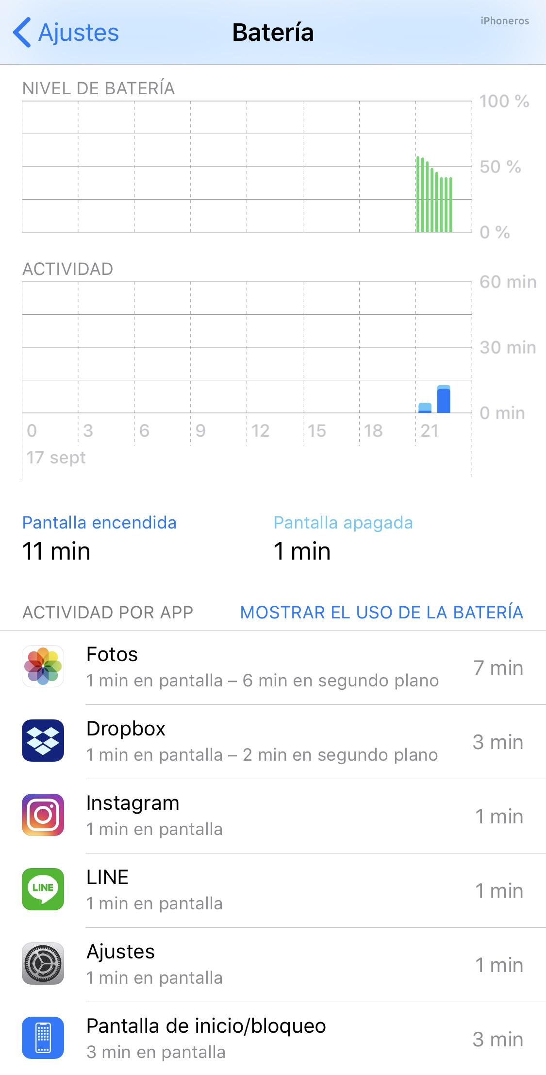 Información sobre el uso de batería en iOS 12