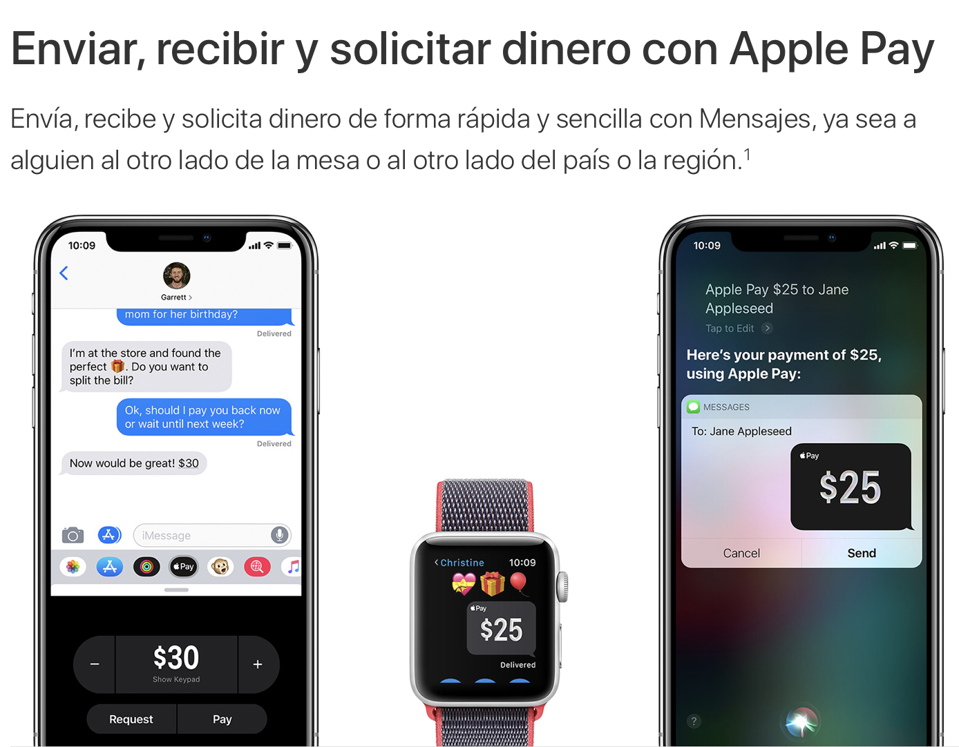 Documentos de soporte de Apple Cash en español
