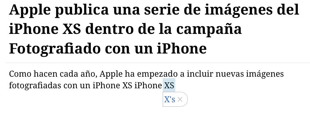iOS sugiere siempre otro nombre para el iPhone XS