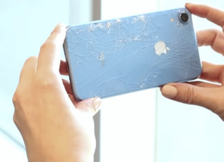iPhone XR con el cristal de la carcasa trasera roto