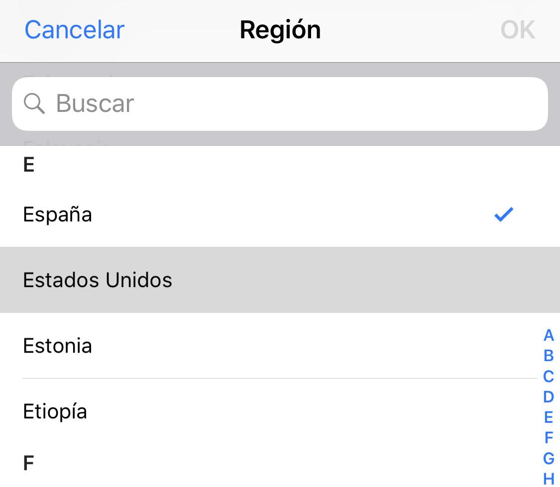 Ajustes de Región en la App de Ajustes de iOS