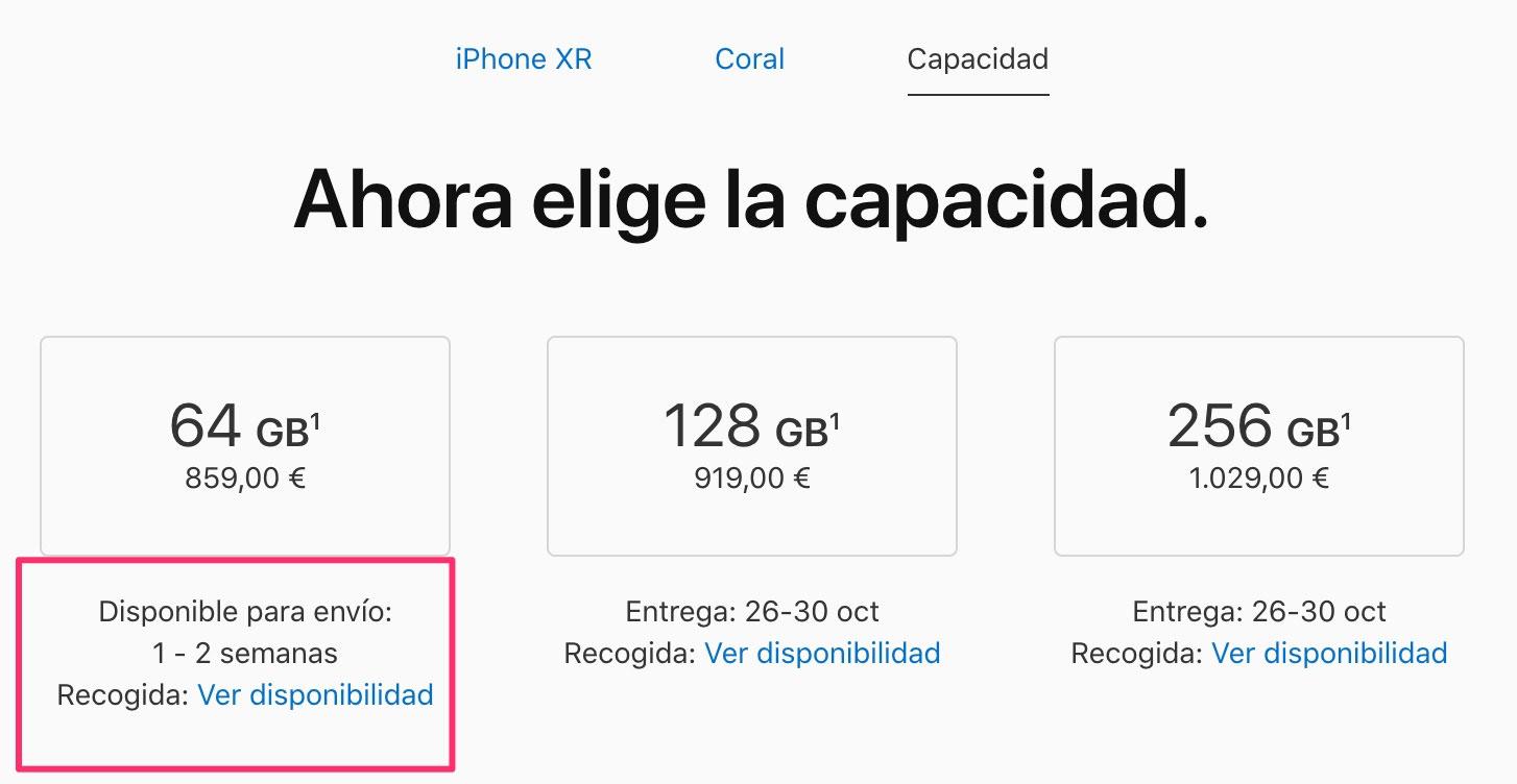 iPhone XR Coral de 64 GB agotado en España