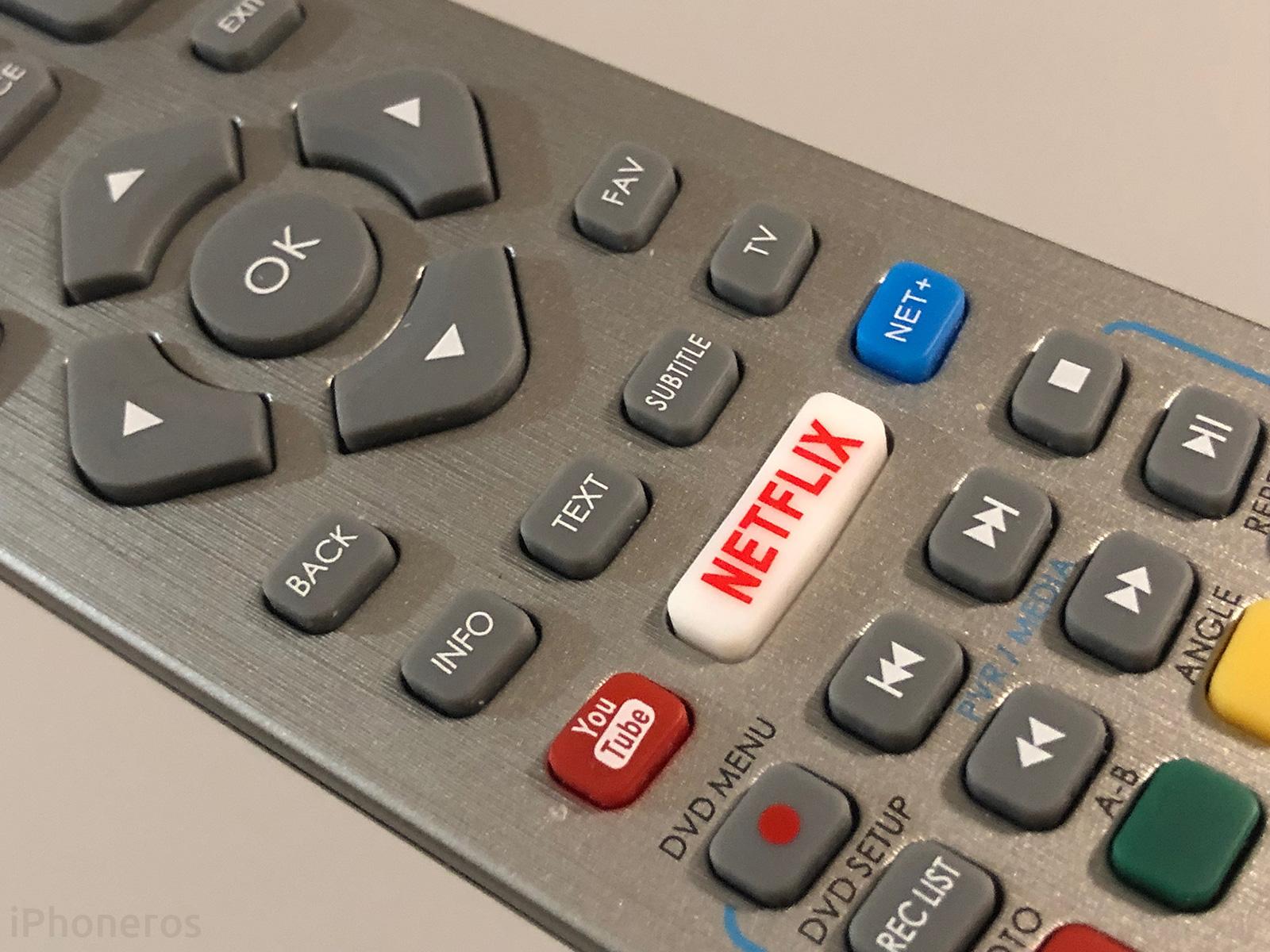 Mando a distancia de TV con botón de YouTube y Netflix
