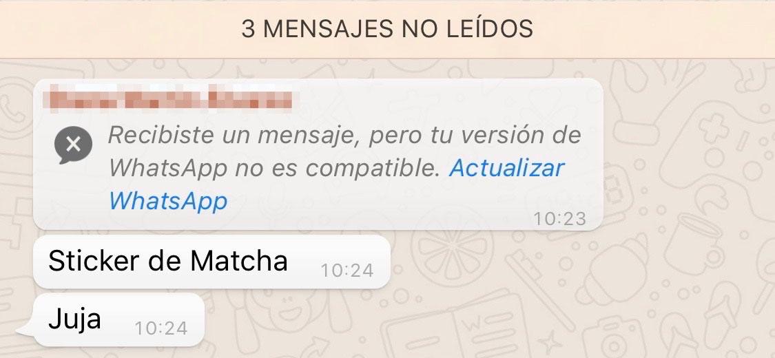 WhatsApp no muestra stickers