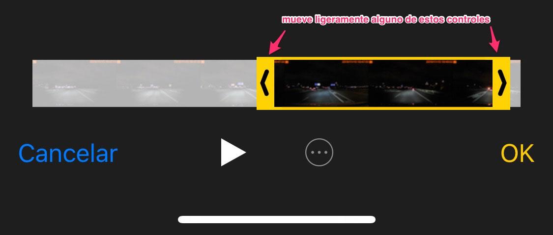 Editando un vídeo en la App de Fotos de iOS