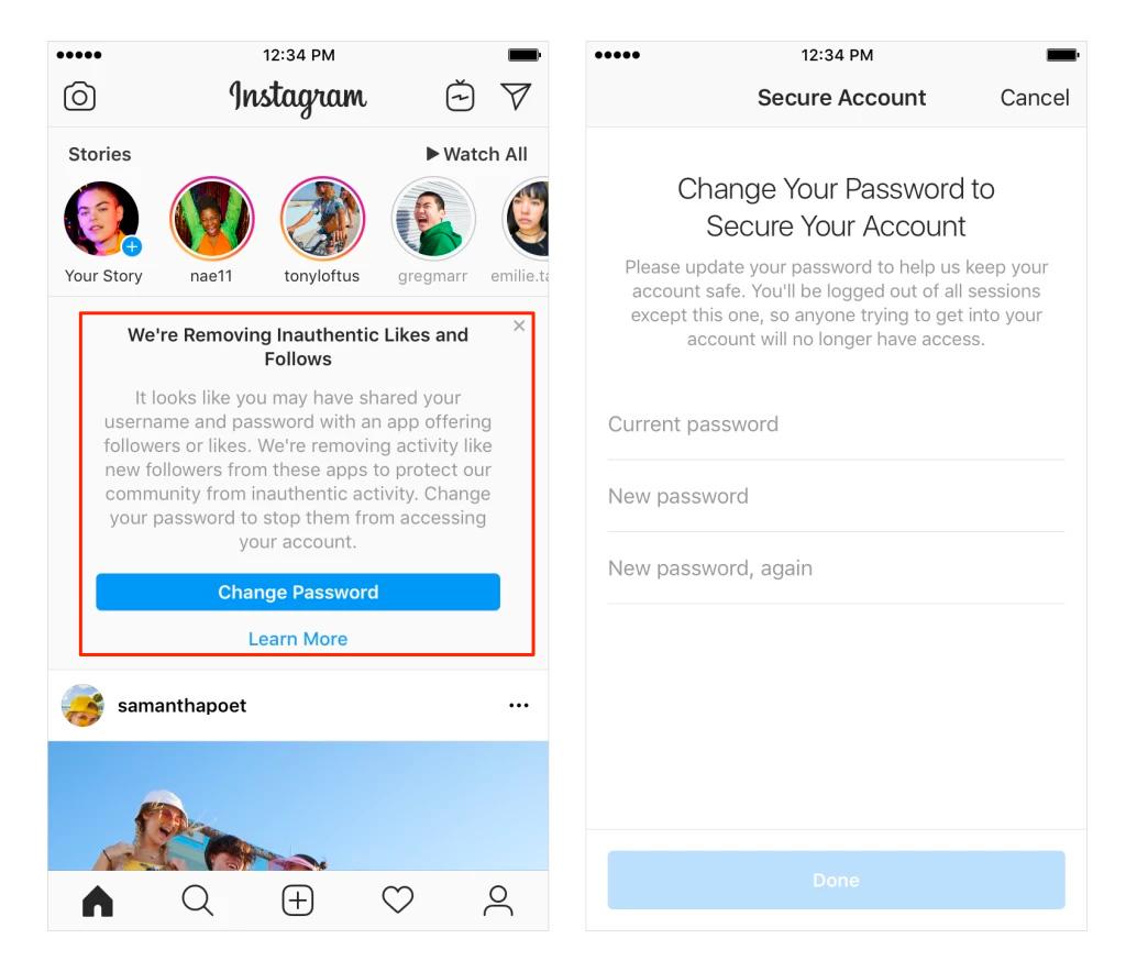 Cambio de contraseña en Instagram debido a la utilización de Apps que incrementan el número de usuarios