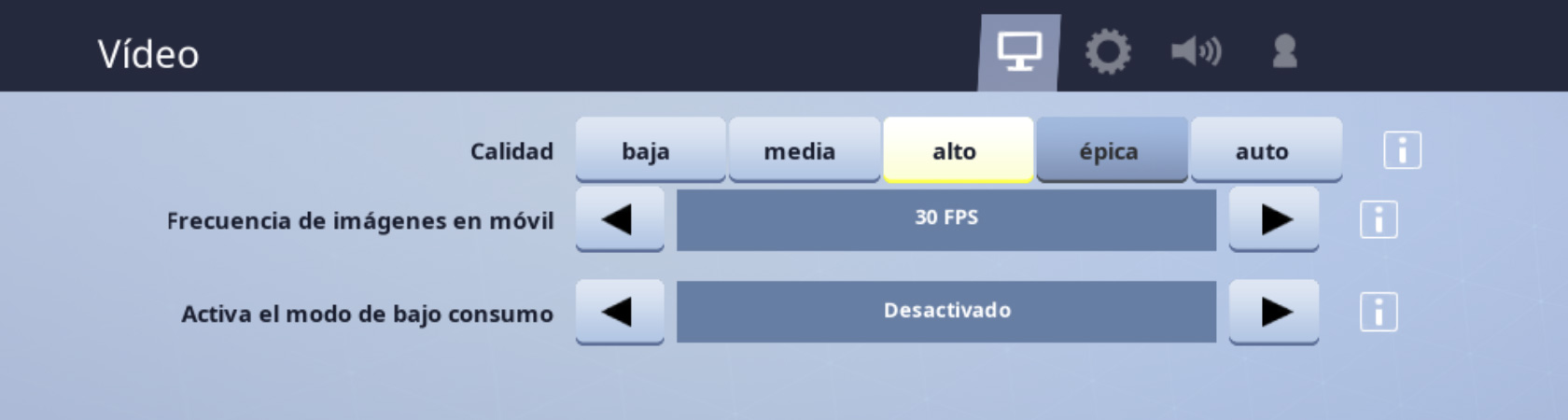 Opciones de video de Fortnite en el iPhone
