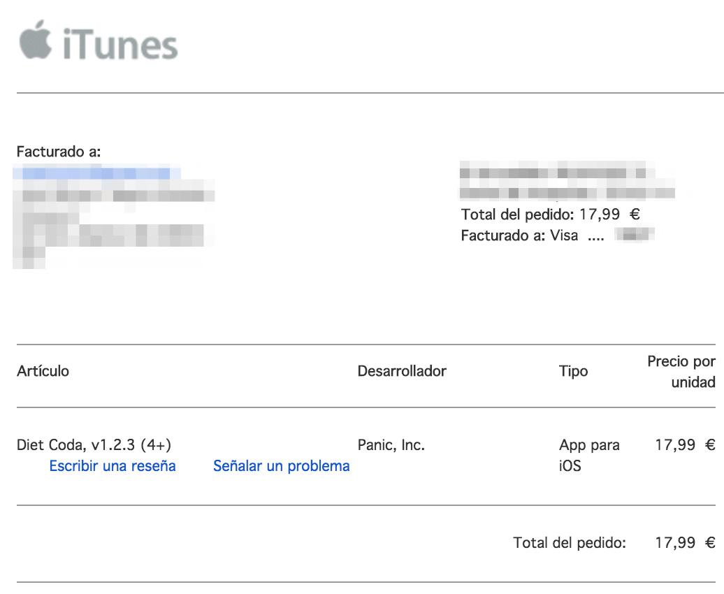 Recibo de la descarga de una App en la App Store