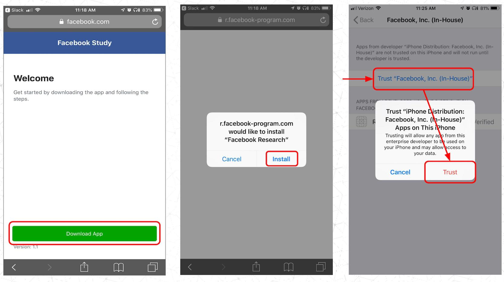 Nueva App de Onavo que Facebook intenta colar con un certificado de desarrollador