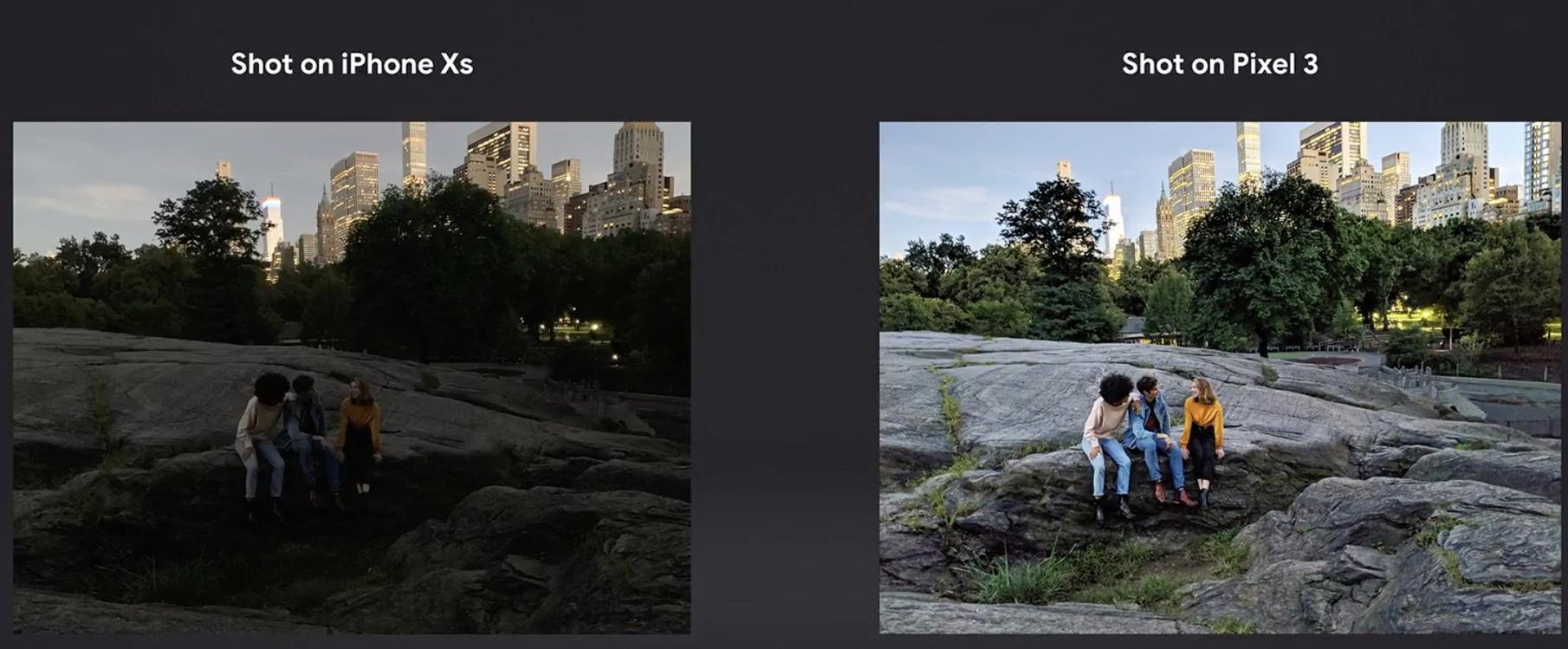 Comparacioón de fotos hechas con un Pixel 3 y un iPhone XS por la noche.