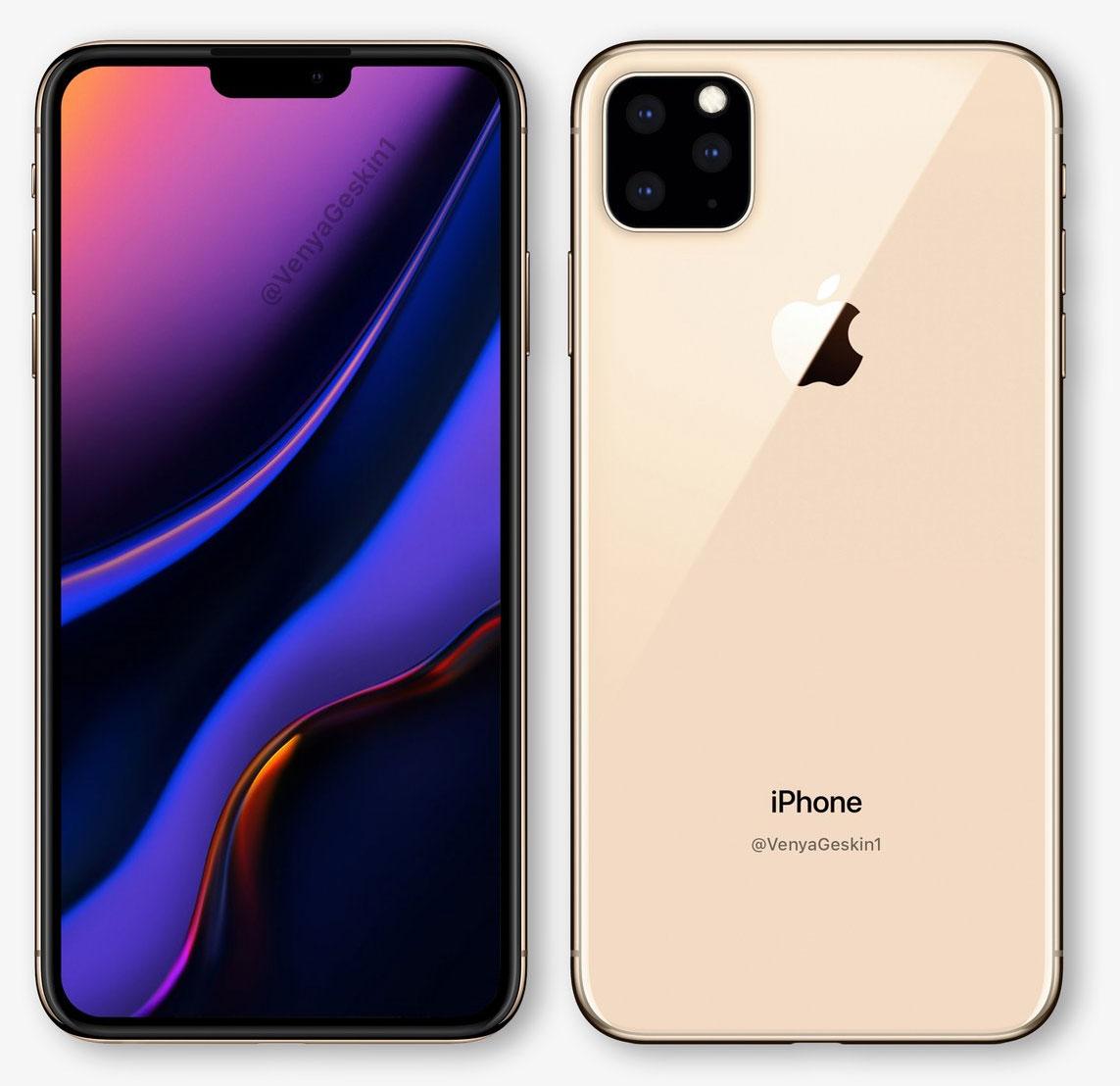Concepto de diseño de iPhone XI con tres cámaras