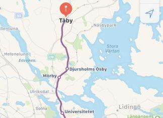 Rutas de transporte público en Suecia, buscando en Apple Maps