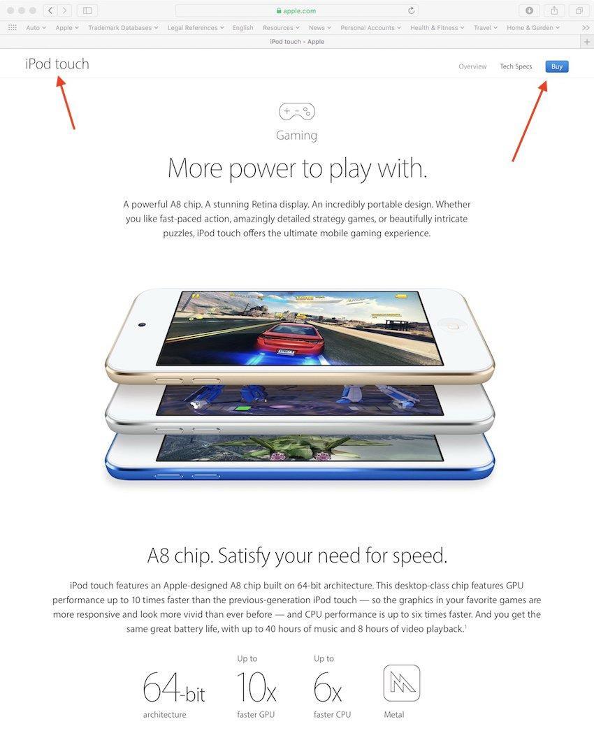 Contenido de videojuegos del iPod touch destacado por Apple