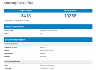 Supuesta prueba de velocidad del Samsung Galaxy S10+ en Geekbench