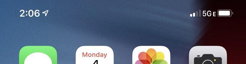 5G E en la pantalla del iPhone