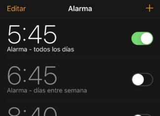 Alarmas configuradas en la App de Reloj de iOS