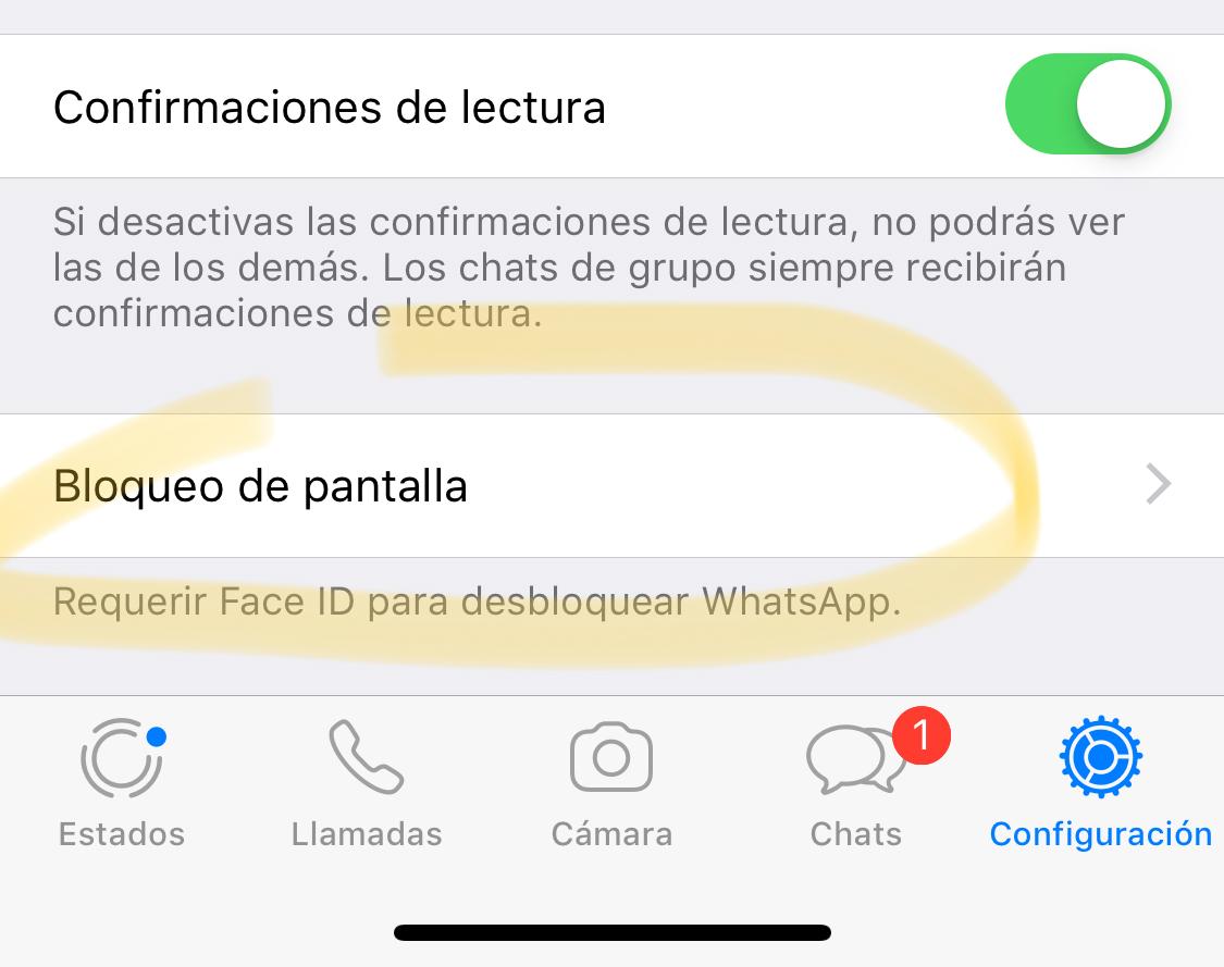 Bloqueo de pantalla en WhatsApp