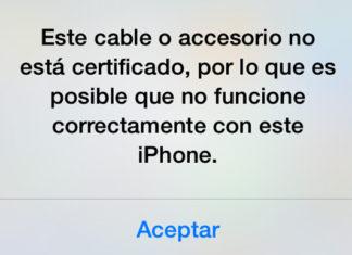 Este cable o accesorio no está certificado, por lo que es posible que no funcione correctamente con este iPhone.