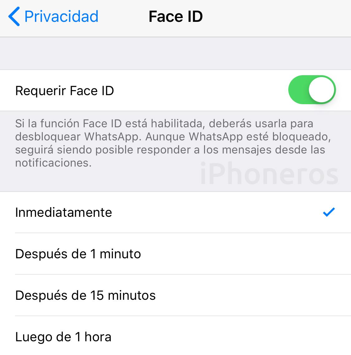 Opciones de bloqueo de pantalla en WhatsApp