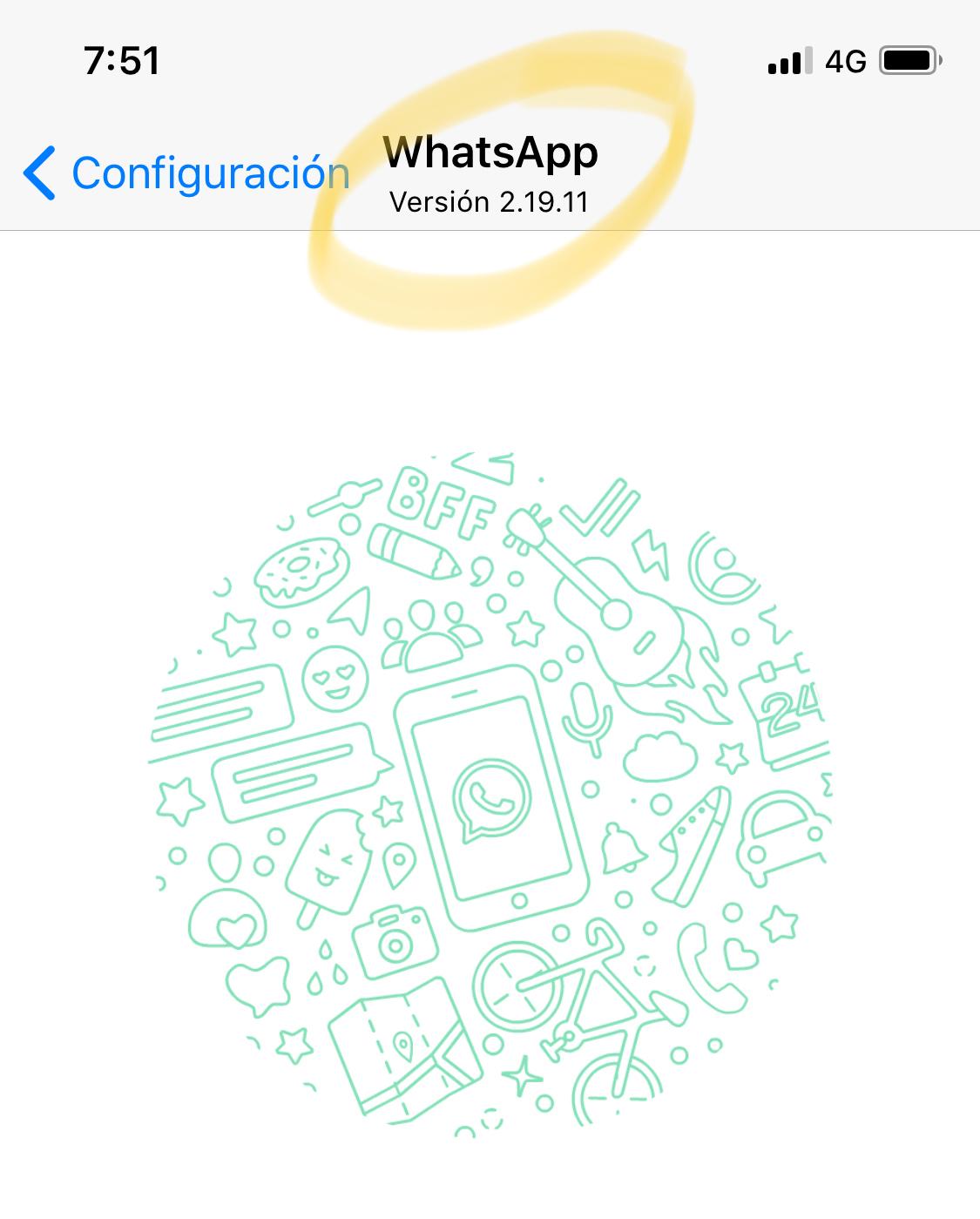 Versión antigua de WhatsApp