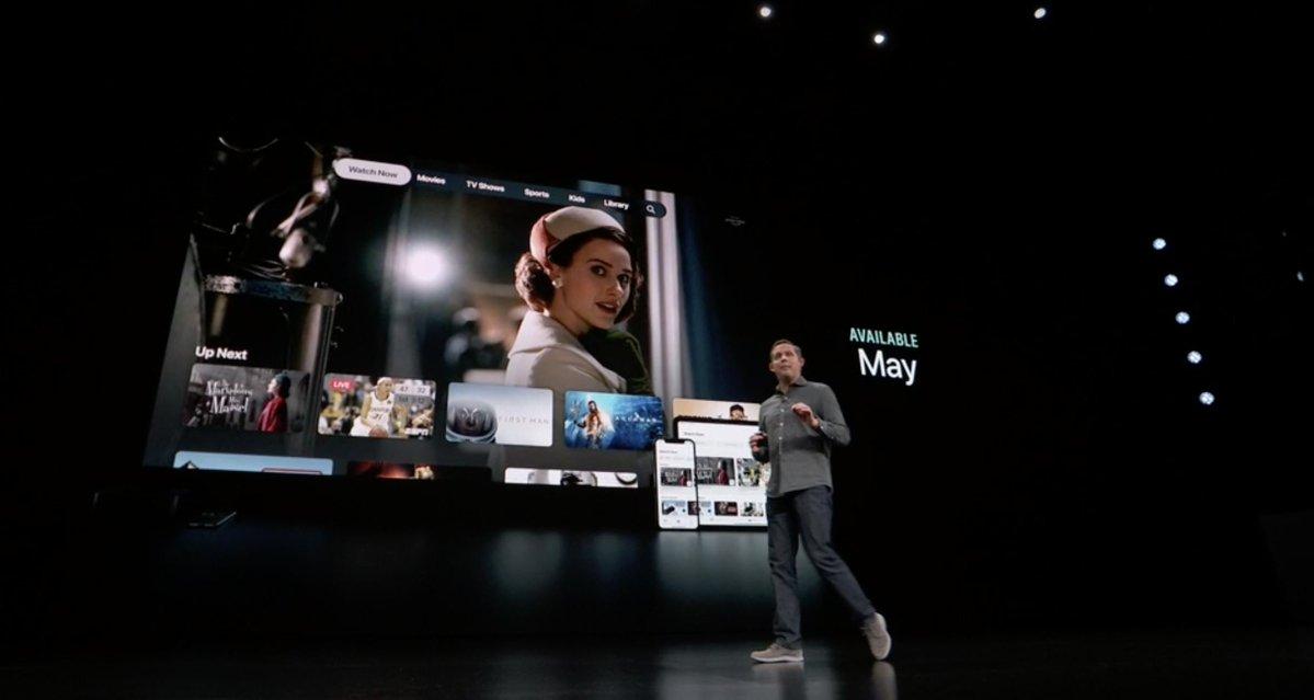 App de TV siendo presentada en la Keynote It's Show Time del 25 de Marzo de 2019