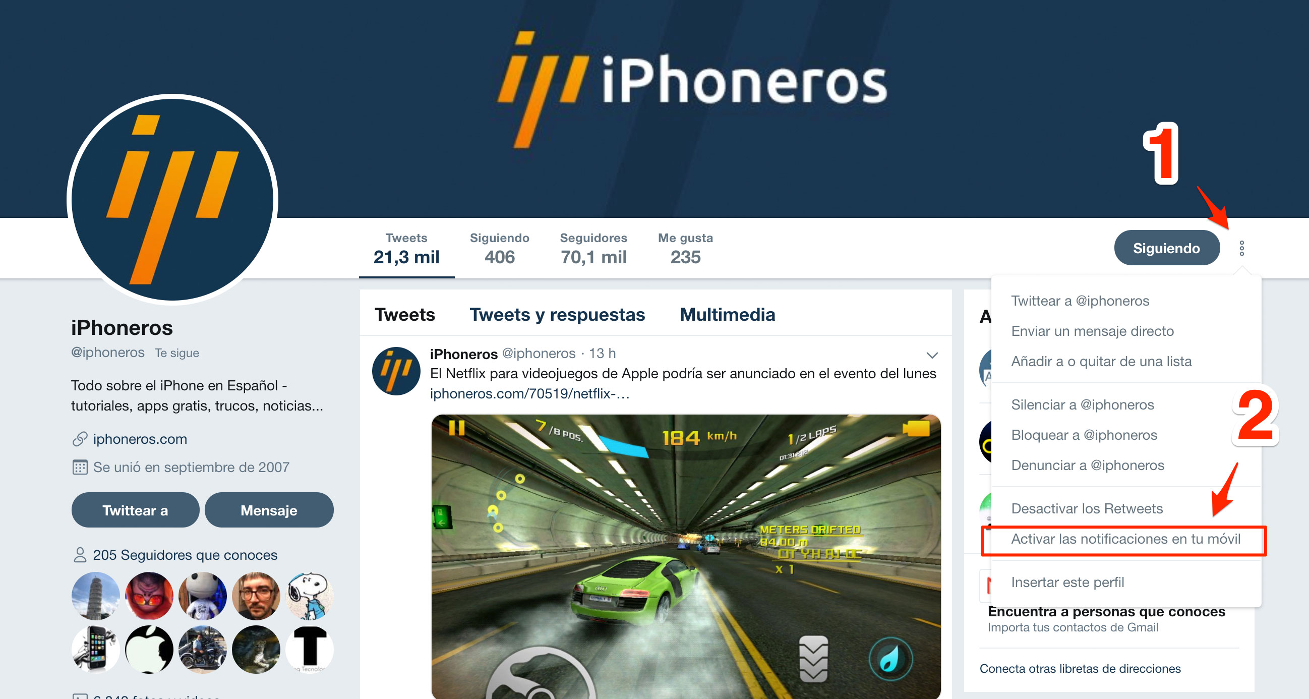 Activando las notificaciones de iPhoneros en Twitter