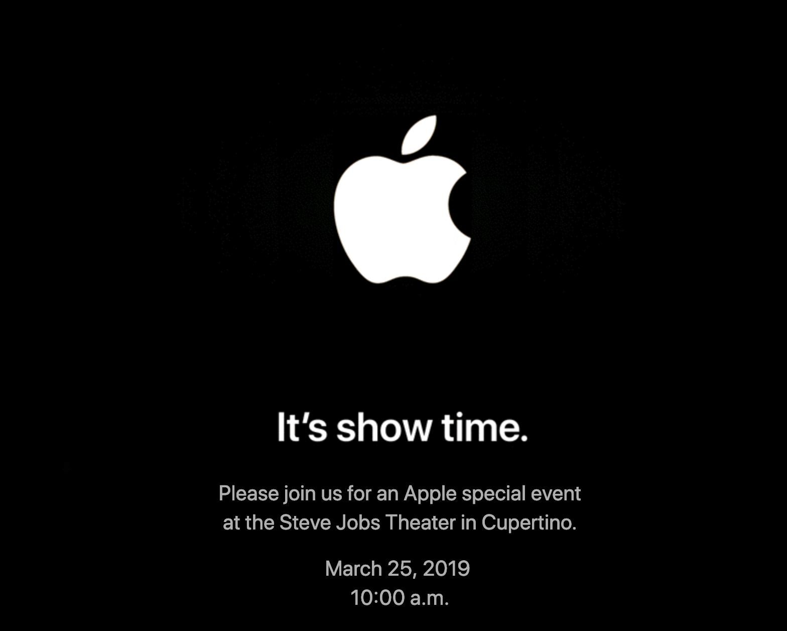 Evento especial de presentación de Apple: it's show time (invitación)