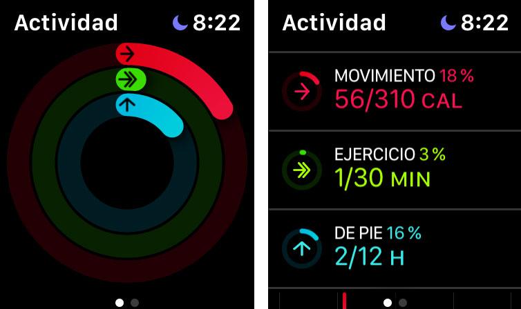 Anillos de actividad en el Apple Watch
