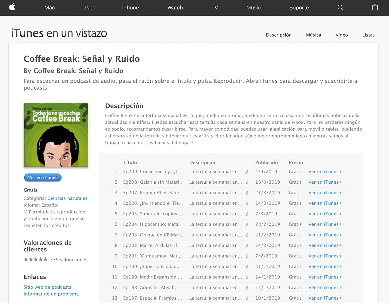 Podcast Coffee Break en iTunes