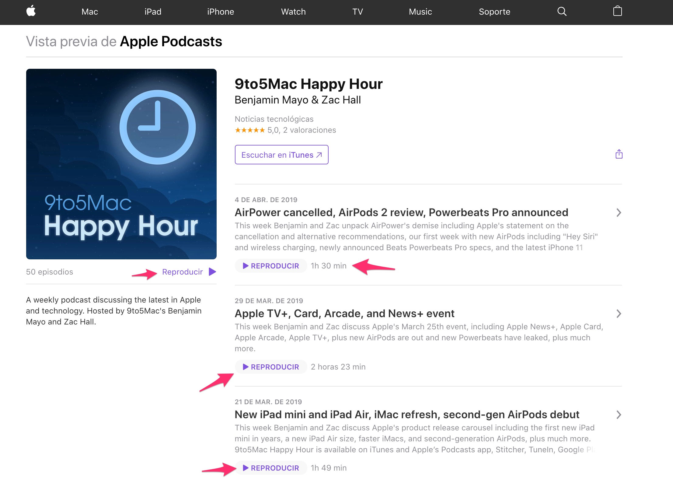 Podcast de 9to5Mac con reproducción web