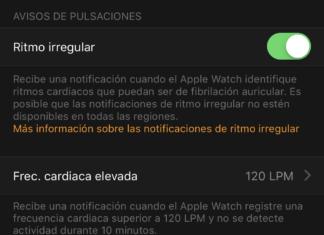 Notificaciones de ritmo irregular en la App de Apple Watch