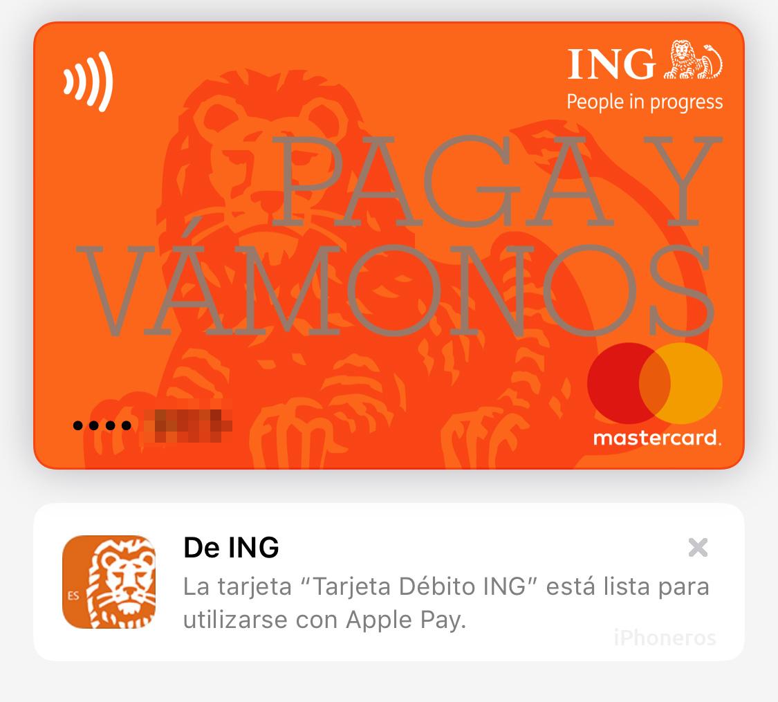 Tarjeta de ING España en Apple Pay