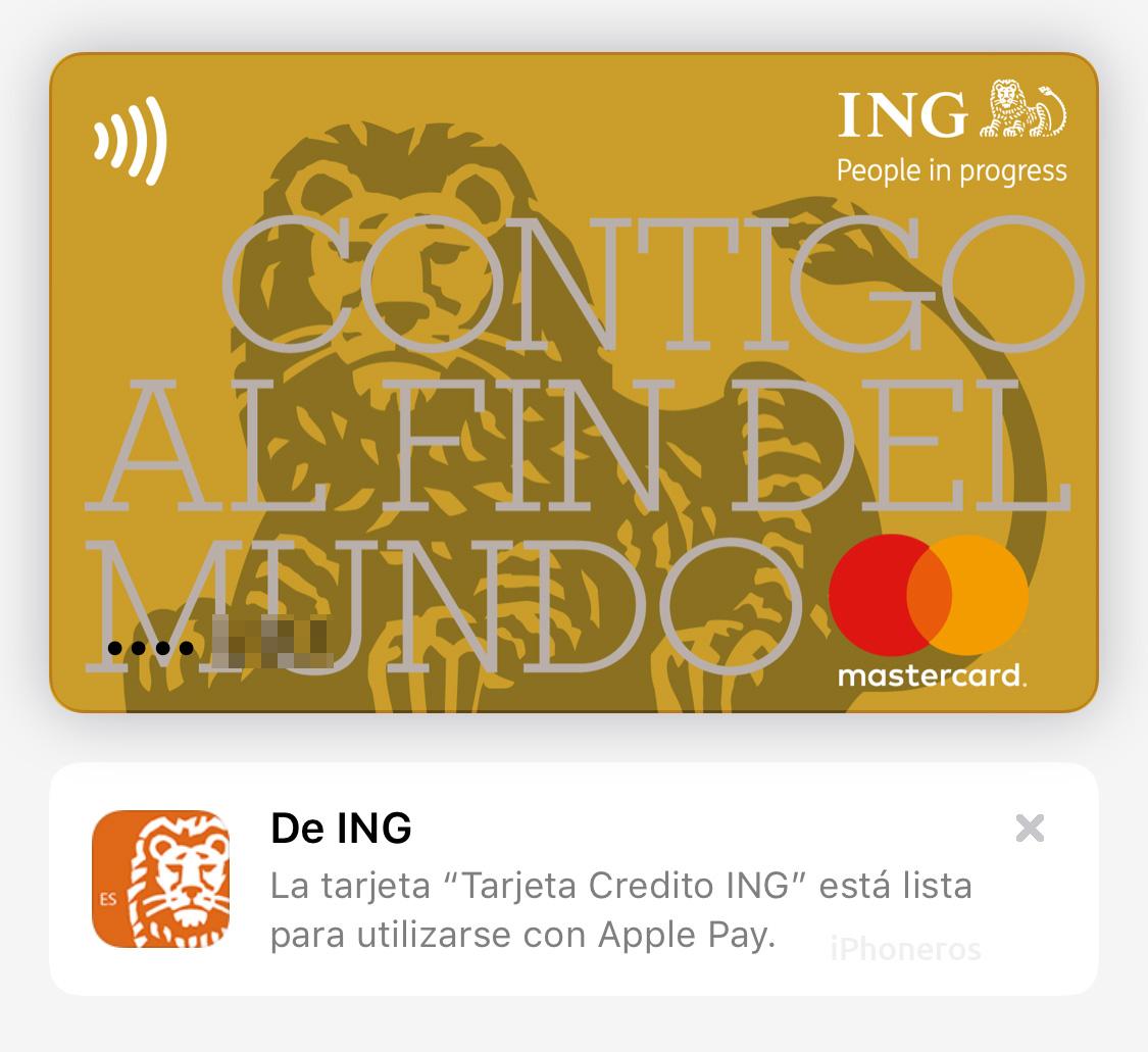 Tarjeta de crédito de ING España en Apple Pay