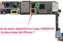 Chip de audio Apple/Cirrus Logic 338S00105 en la placa base del iPhone 7