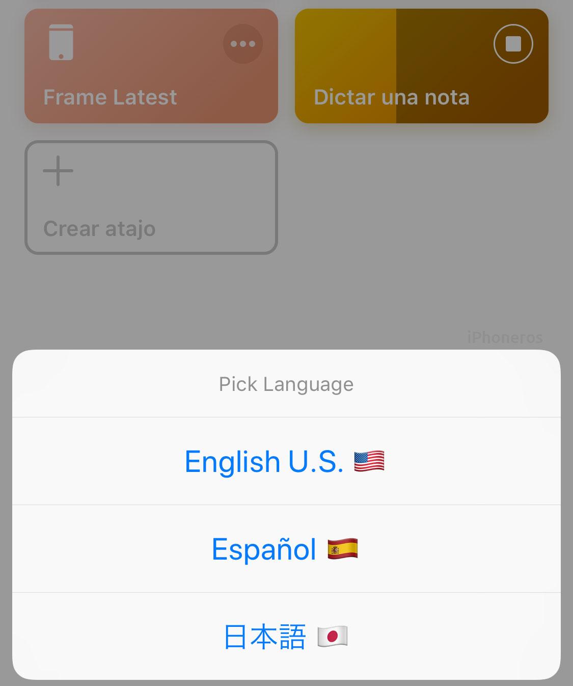 Idiomas para dictar en la App de Atajos
