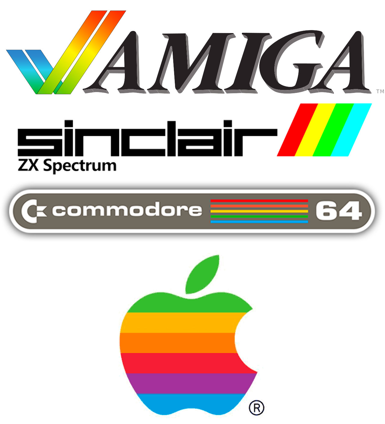 Logos de compañías informáticas de los añosa 70, 80 y 90 con los colores del arcoíris