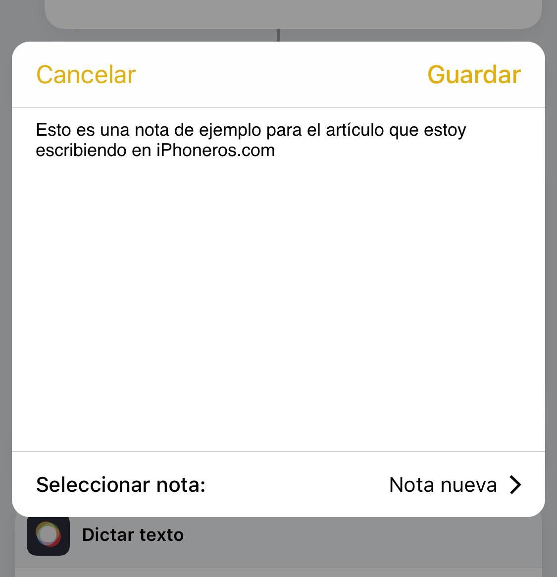 Dictando audio desde la App de Notas