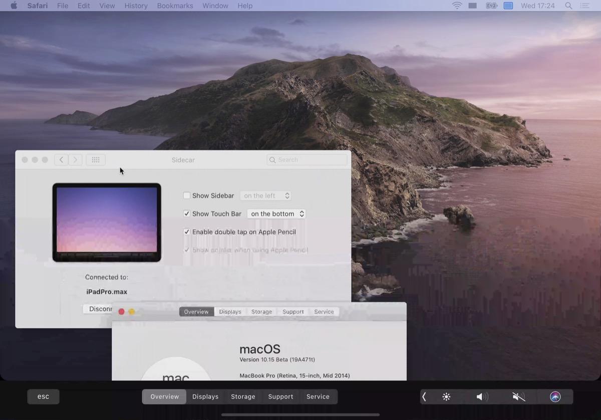 Touch Bar con Sidecar en macOS Catalina