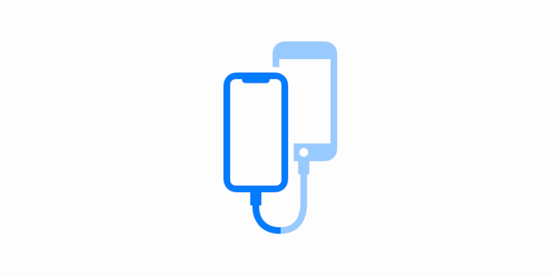 Icono de dos iPhones conectados con un cable Lightning a Lightning