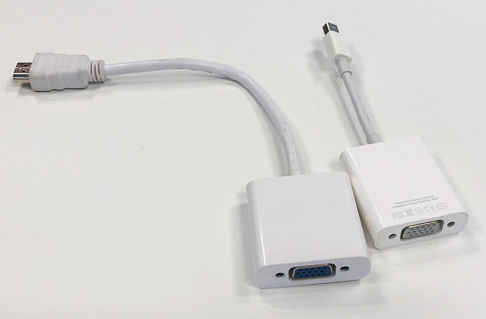 Cables adaptadores de HDMI a VGA o Mini-Display Port a VGA
