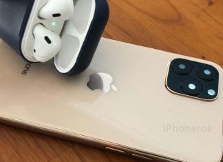 AirPods sobre una maqueta del iPhone 11 Pro