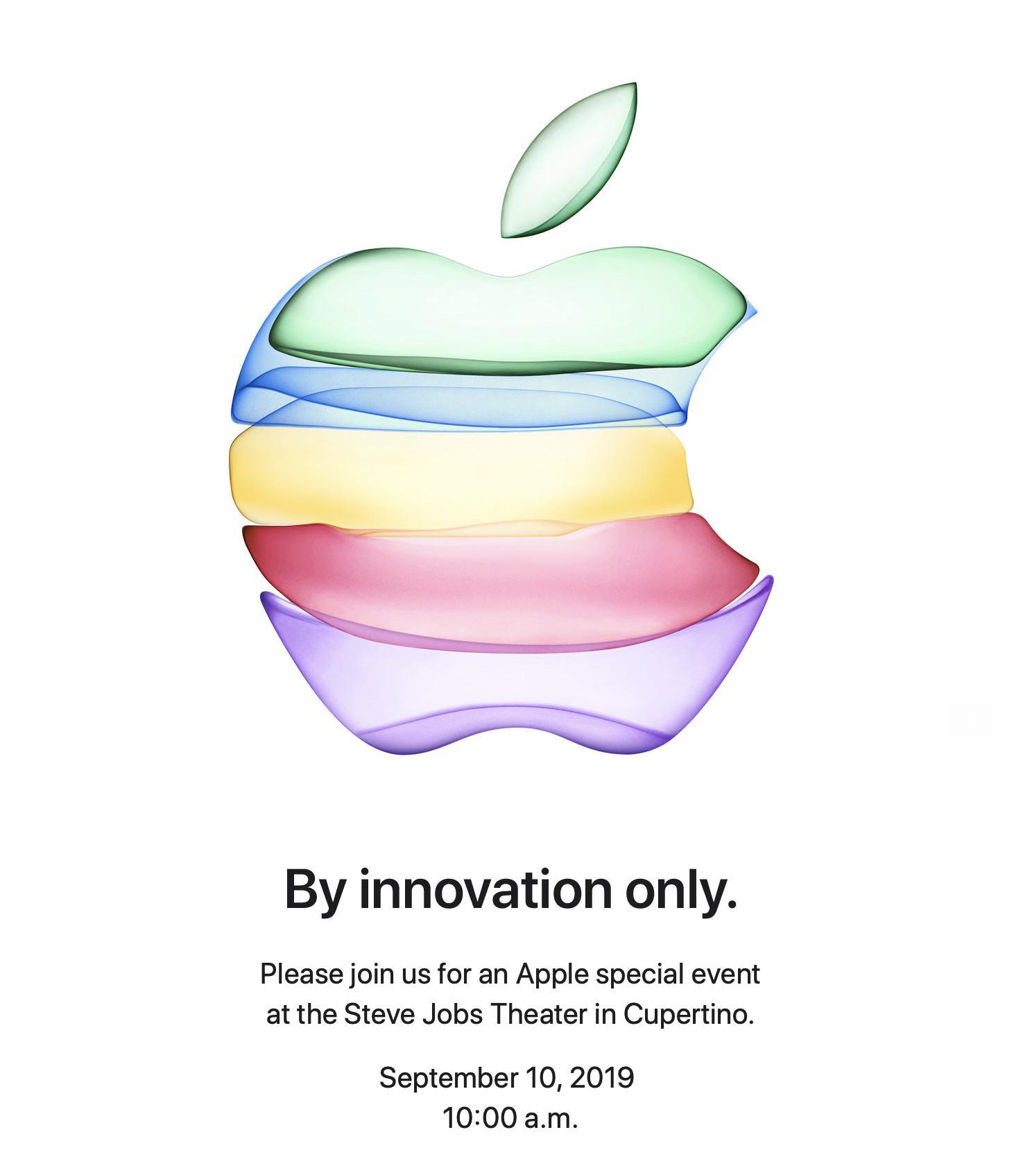Invitación para el evento de presentación del iPhone 11 el 10 de septiembre de 2019