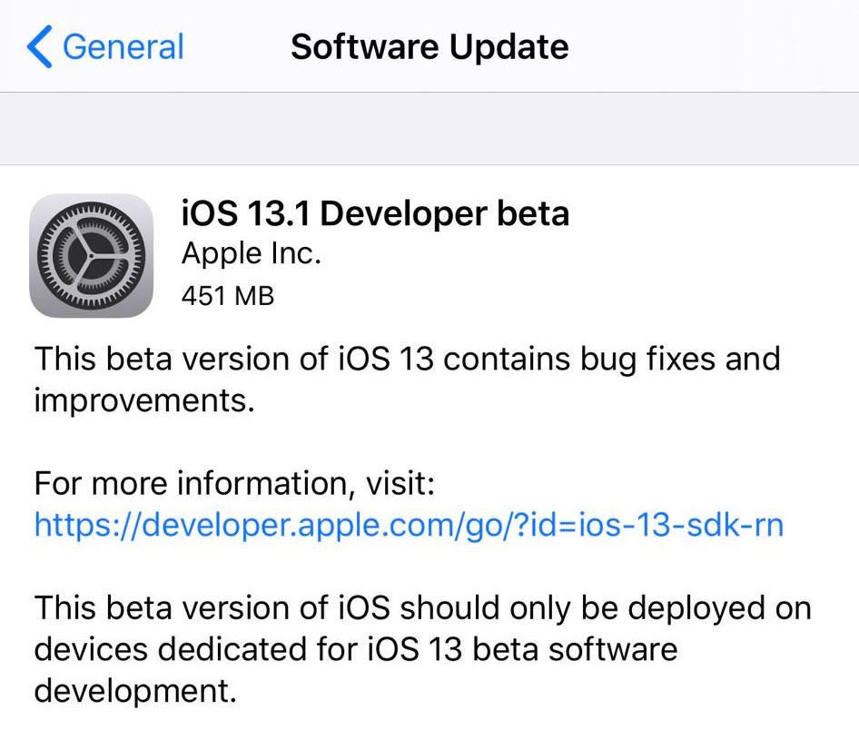 iOS 13.1 beta