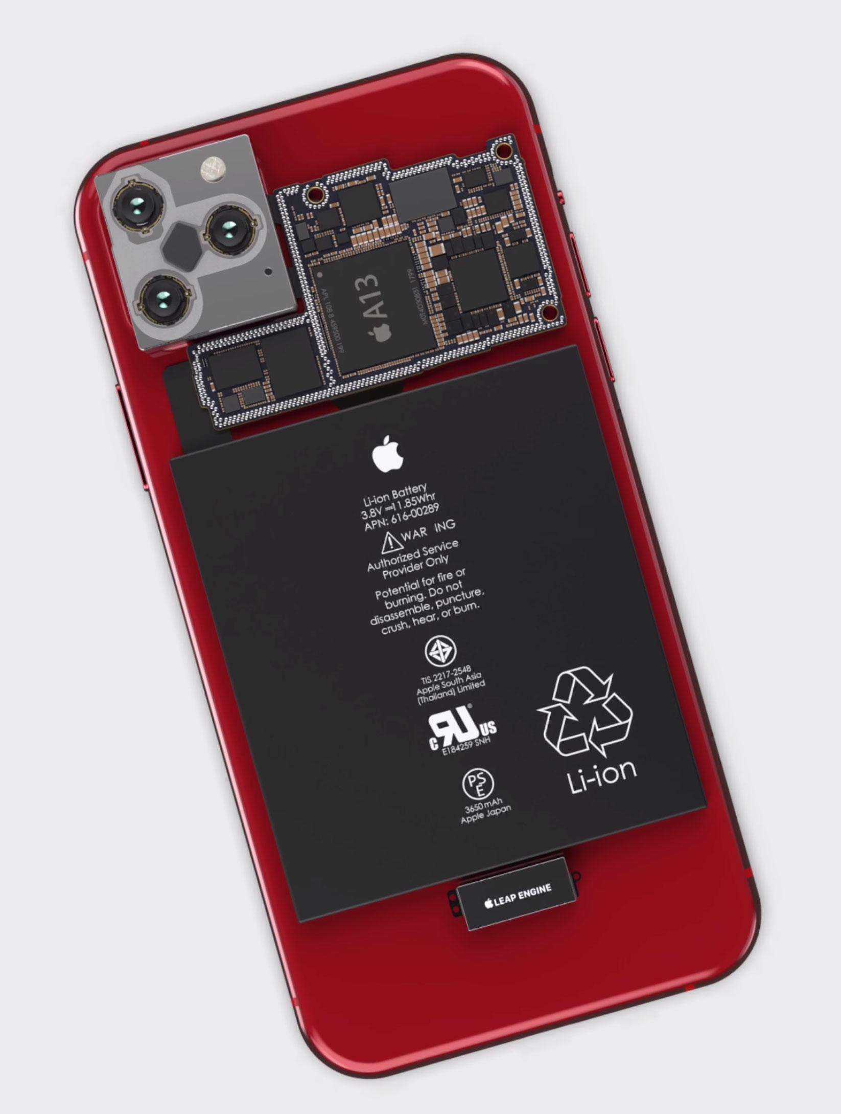 Concepto de diseño de iPhone 11 mostrando la placa base por dentro