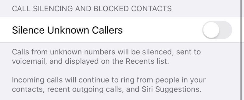 Silenciando llamadas de personas desconocidas en iOS 13