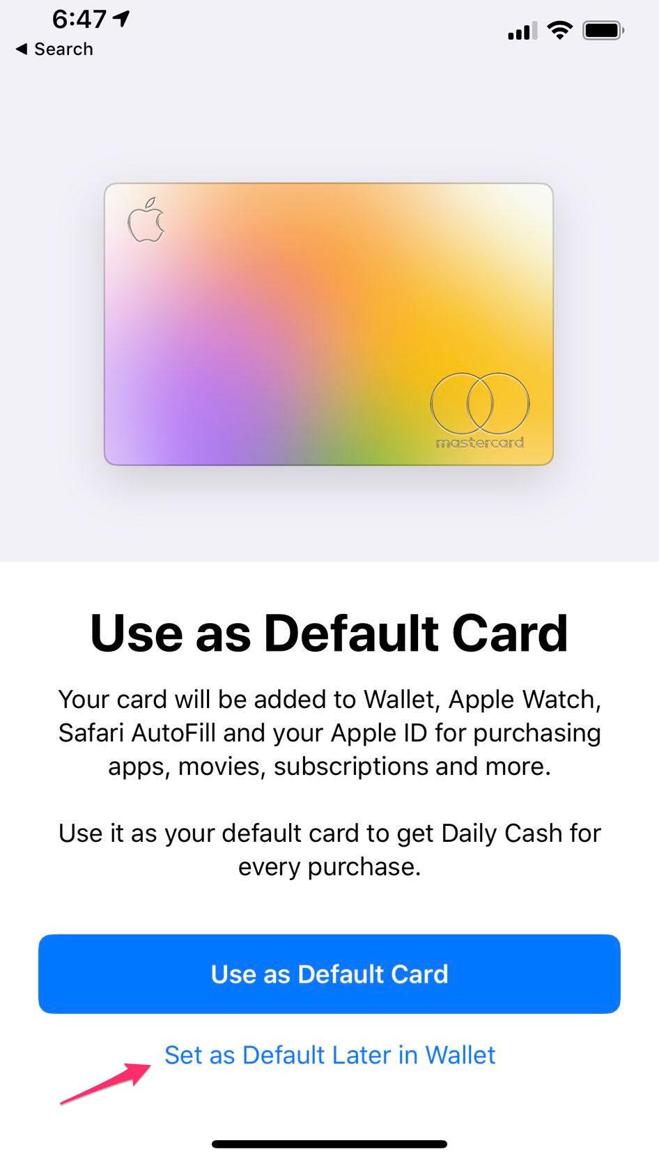 Pregunta sobre la configuración por defecto de la Apple Card