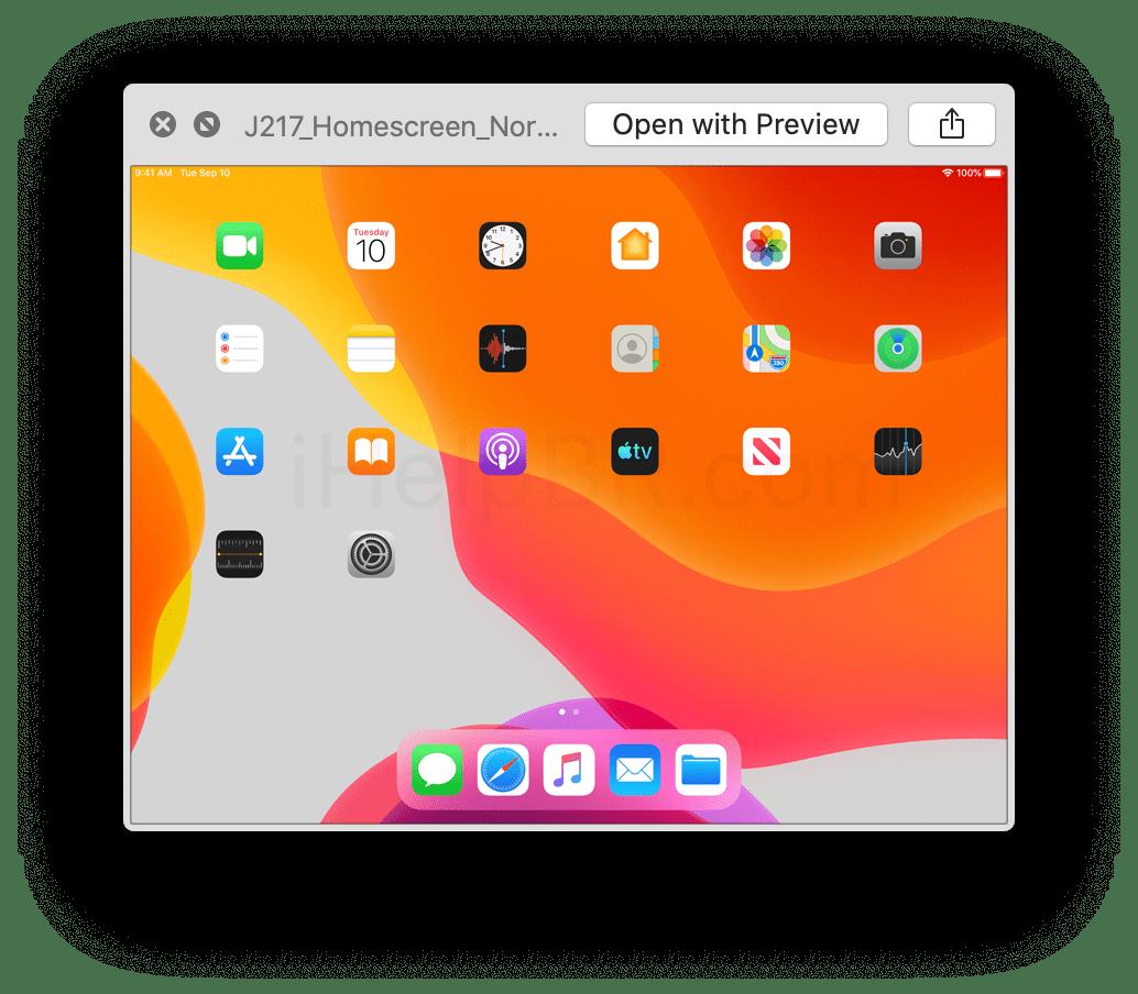 Versión de iPad de la captura de pantalla con el día de su presentación, 10 de septiembre