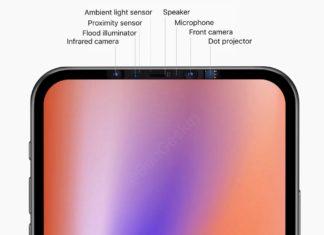 Montaje de cómo podría ser ese prototipo de iPhone sin pestaña sobre la pantalla