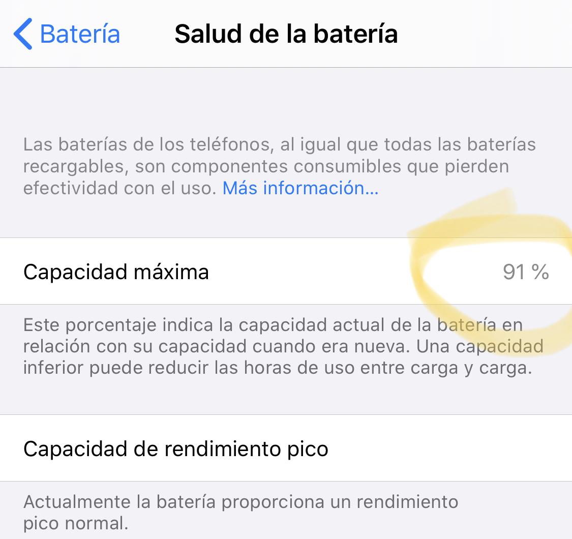 Salud de la batería en iOS 13