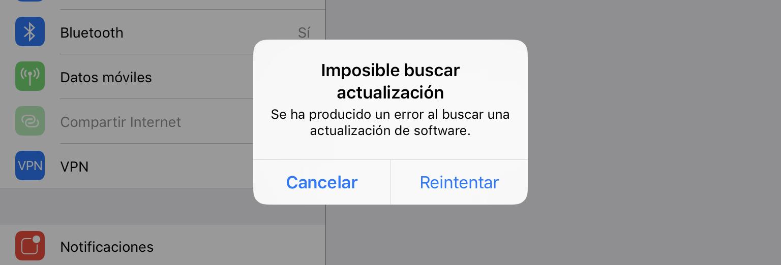 Imposible buscar actualización - se ha producido un error al buscar una actualización de software